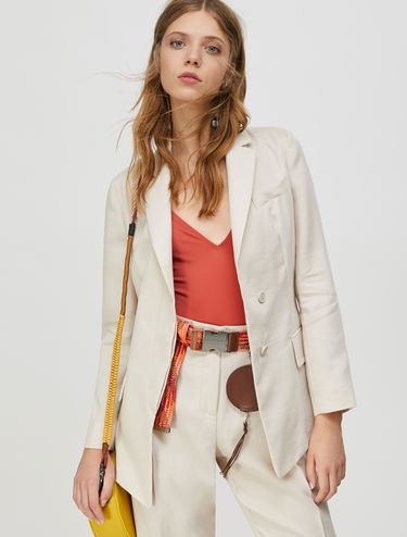 Blazer in linen and poplin