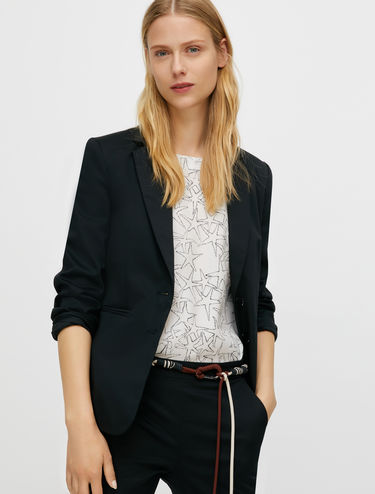 Cotton satin slim-fit blazer