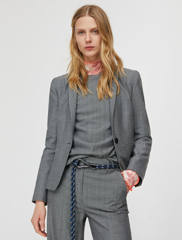 Slim-fit micropattern blazer