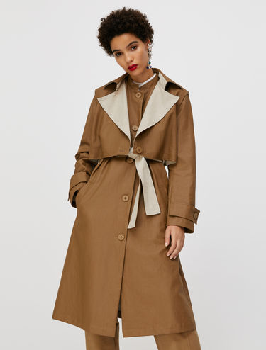 Trench-coat en lin enduit 2 en 1