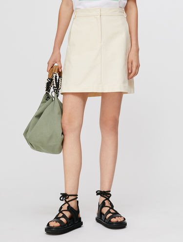 Mini-skirt in cotton-linen canvas