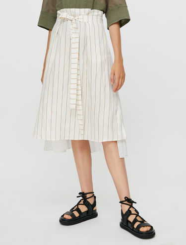 Midi-skirt in linen and poplin