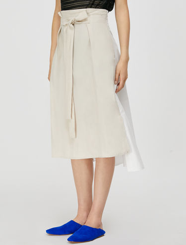 Skirt in linen and poplin