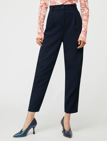Darted barrel-leg trousers