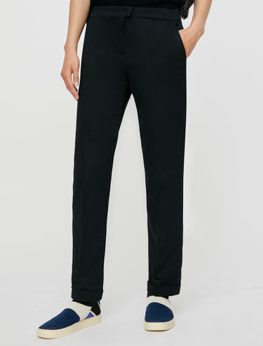 Pantaloni in raso di cotone stretch