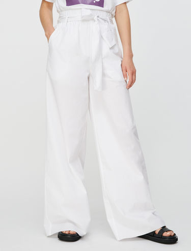 Wide leg trousers in pure cotton