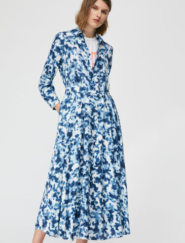 Long printed shirt dress
