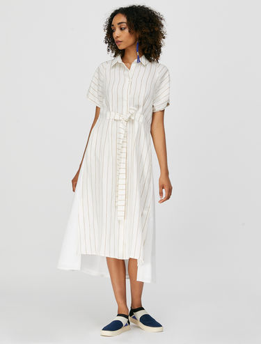 Shirt dress in linen and poplin