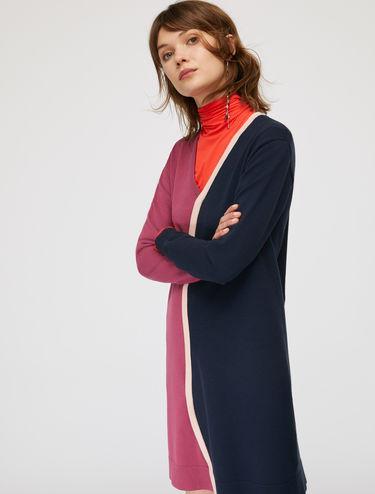Knit dress with 3D wavy trim