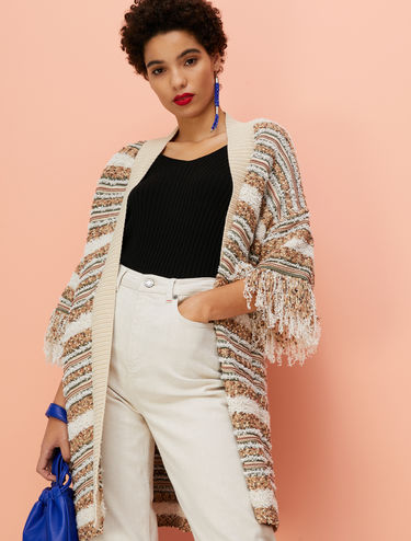 Striped cardigan with fringing