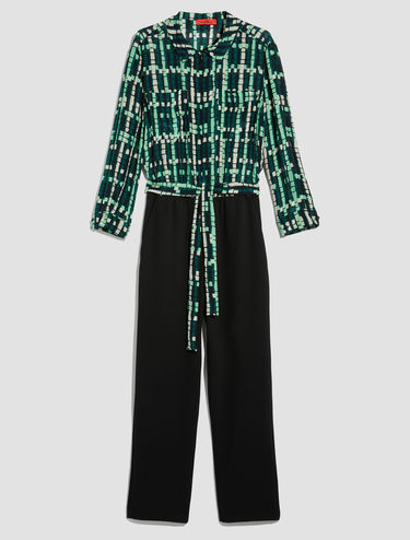 Silk and jersey twill jumpsuit