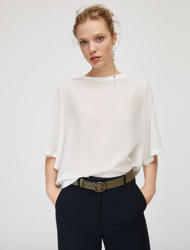Silk and jersey blouse with slits
