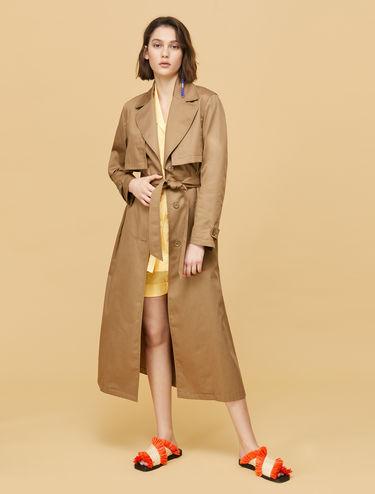Gabardine maxi trench coat