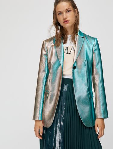Iridescent lamé blazer