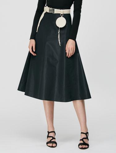 Taffeta A-line midi skirt