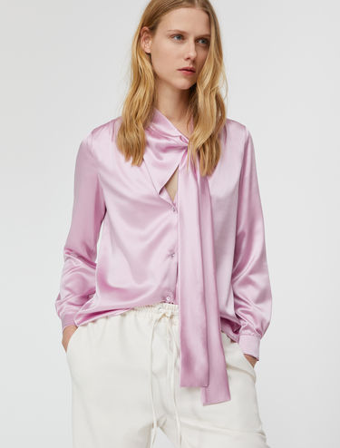 Silk shirt with bow collar
