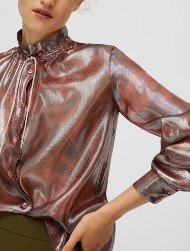 Silk lamé drawstring shirt