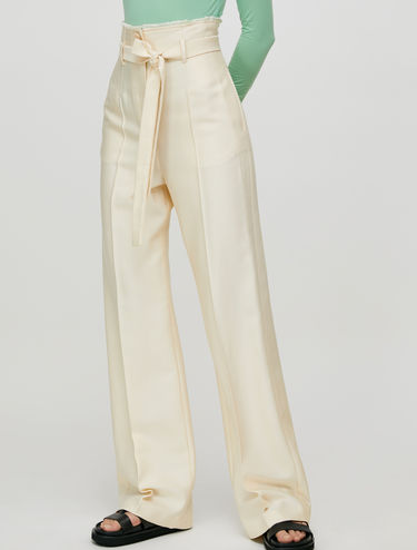 Twill wide leg trousers