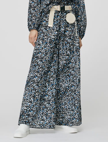 Cotton voile wide-leg trousers
