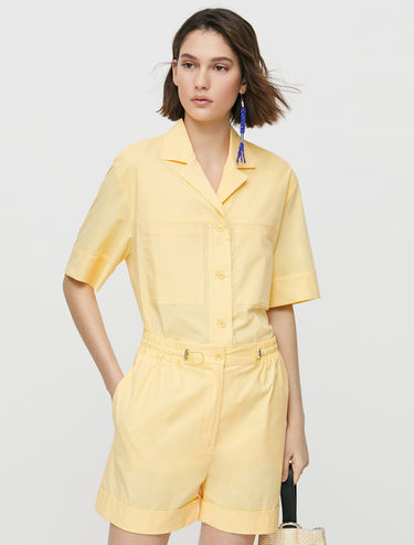 Poplin shorts with drawstring