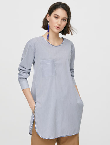 Poplin tunic with bow