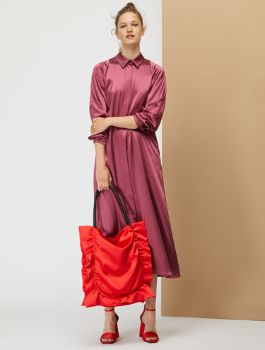 Midi silk satin shirt dress