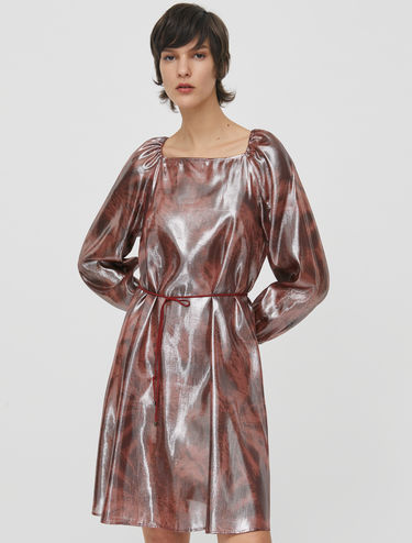 Silk lamé drawstring dress