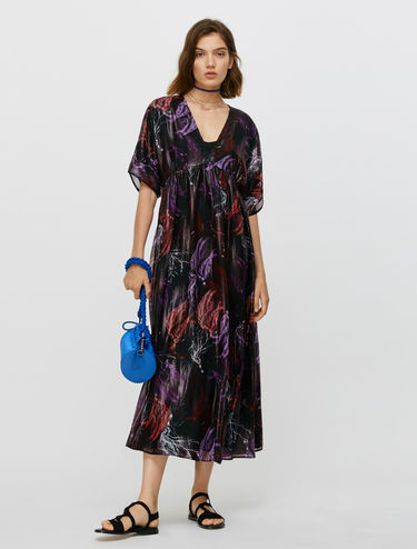 Long dress in fil coupé silk