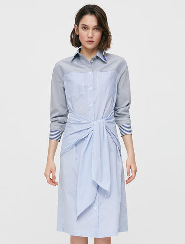 Striped poplin shirt dress