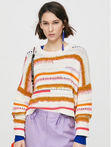 Oversized jumper with 3D stripes