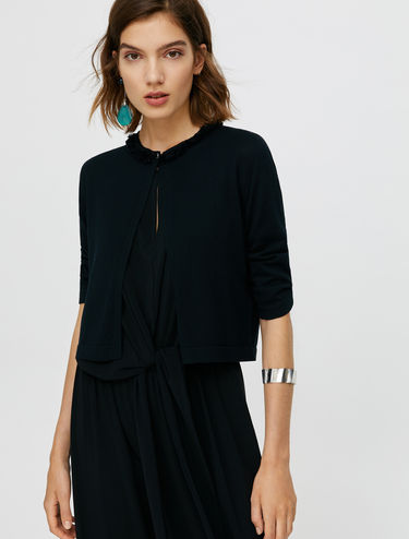 Cropped fringed cardigan