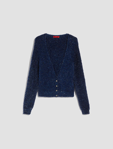 Plush iridescent lamé cardigan
