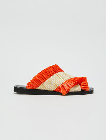 Raffia sandals with fringe