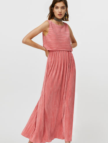 Micro-pleat jersey dress