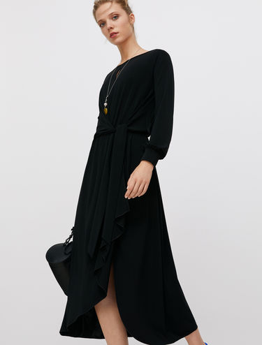 Draped dress with knot