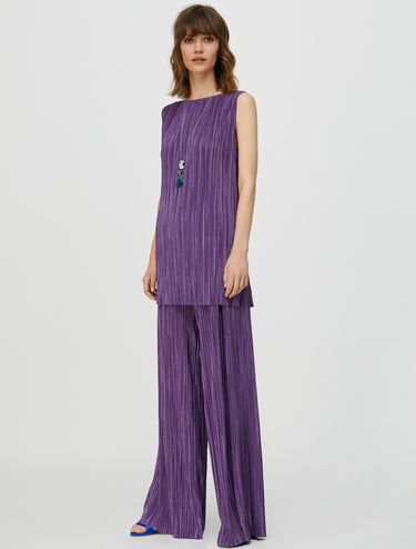 Micro-pleat jersey trouser suit