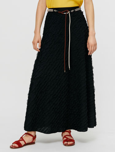 Micro-ruche jersey skirt