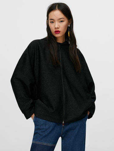 Oversized sweatshirt in micro-lamé