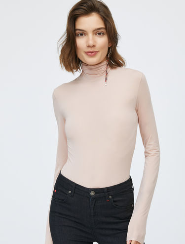 Stretch jersey polo-neck