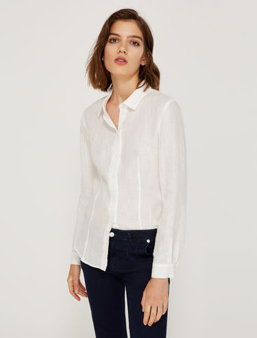 Pure linen slim-fit shirt