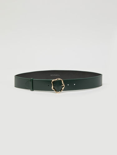 Leather belt with 3D buckle