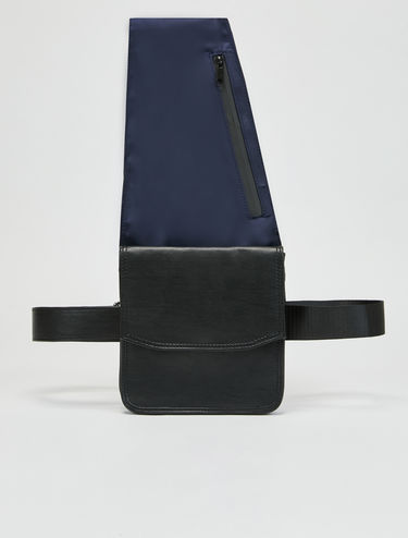 Single shoulder techno satin belt bag