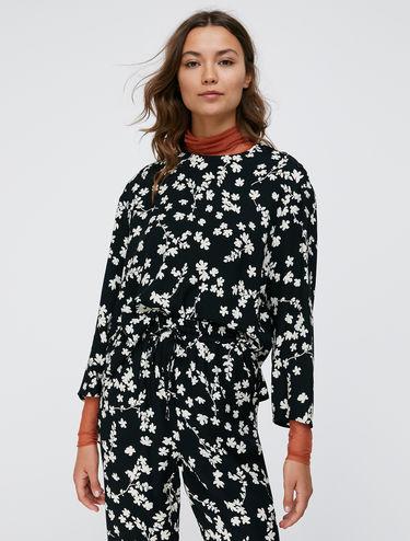 Floral print sablé blouse