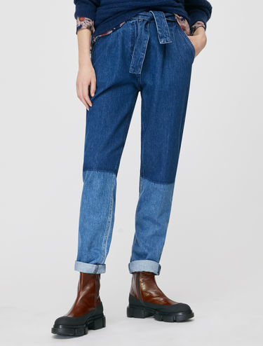 Two-tone carrot-fit jeans