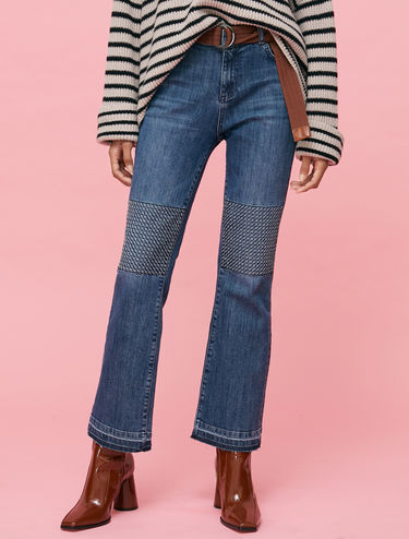 Bootcut jeans with stitched panels