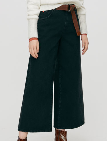 Cropped-fit wide jeans