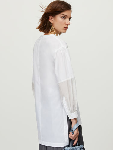 Poplin and muslin tunic top