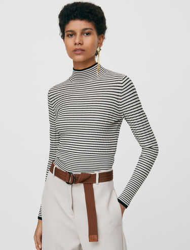 Striped polo neck