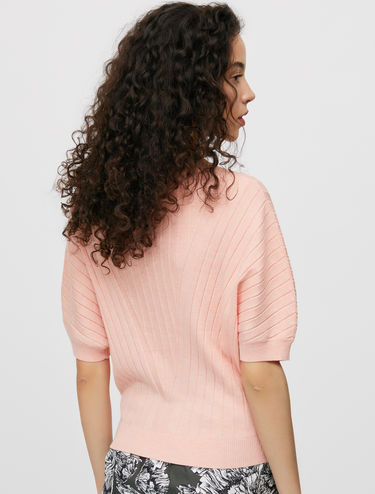 Ribbed balloon sleeve jumper
