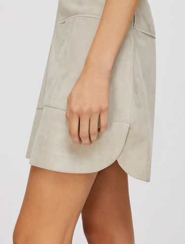 Suede nappa leather skirt